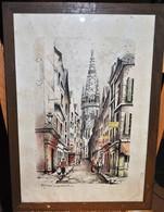 Rare Très Belle Encre Aquarellée De St Malo La Grande Rue  Signé Griveau Sous Cadre Années 40-50 - Acquarelli
