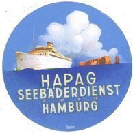 ETIQUETA  -  HAPAG SEEBÄDERDIENST  (SERVICIO TURISTICO COSTERO) -HAMBURG  -ALEMANIA - Publicidad