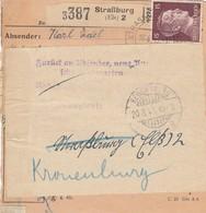 Paketkarte Affr Michel 789 + 798 X 2 Obl STRASSBURG (ELS) 2 Du 16.8.43 Adressée à Regensburg - Covers & Documents