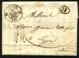 ARDECHE: Pli De ALISSAS De 1831 En Port Du Avec CàDate Type 12 De PRIVAS (6) 1D P LYON - Marcophilie (Lettres)