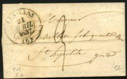 ARDECHE: Pli De Les VANS De 1837 En Port Du Avec CàDate Type 13 De LES-VANS (6) P St HYPOLITE - Marcophilie (Lettres)