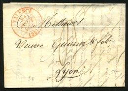 DROME: Pli De BEAUMONT Lès VALENCE De 1832 En Port Du Avec CàDate Type 13 Rge  VALENCE (25) P LYON - Marcophilie (Lettres)
