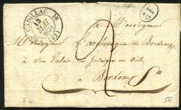 GIRONDE: Pli De TOURNE De 1833 En Port Du Avec CàDate Type 12 De CADILLAC (32) +1D P BORDEAUX - Marcophilie (Lettres)