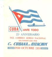 ETIQUETA  - 25 ANIVERSARIO DE LA COMPAÑIA CUBANA DE AVIACION  1930-1955 - Advertising