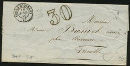 ISERE: Pli De BOURG D'OISAN De 1856 En Port Du Avec CàDate Type 15 De LE BOURG-D'OISAN (37) +30 Dble Trait  P GRENOBLE - 1801-1848: Precursors XIX