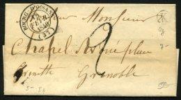 ISERE: Pli De OZ De 1849 En Port Du Avec CàDate Type 14 De LE BOURG-D'OISAN (37) + Boite Rurale K  P GRENOBLE - Postmark Collection (Covers)