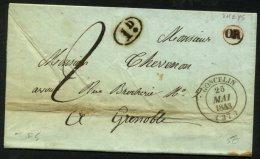 ISERE: Pli De THEYS De 1843 En Port Du Avec CàDate Type 14 De GONCELIN (37) + Origine (OR) De THEYS P GRENOBLE - Marcophilie (Lettres)