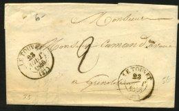 ISERE: Pli Du TOUVET De 1846 En Port Du Avec CàDate Type 13 De  LE TOUVET (37) P GRENOBLE - Marcophilie (Lettres)