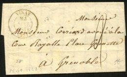 ISERE: Pli De VINAY De 1839 En Port Du Avec CàDate Type 13 De VINAY (37)  P GRENOBLE - 1801-1848: Precursors XIX