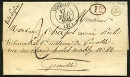 ISERE: Pli De St AUPRE De 1853 En Port Du Avec CàDate Type 13 De VOIRON (37) + 1D + OR P GRENOBLE - 1801-1848: Précurseurs XIX
