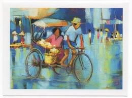 """Carte Ouvrante Peinture """"Le Pousse-Pousse"""" De Chou Sundara Pour Handicap International - Pittura & Quadri"""
