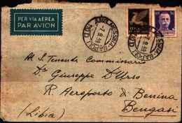 72753)  LETTERA AEREA CON 50C.IMPERIALE+50C.IMPERIALE AEREA DA CON ANNULLO AMBULANTE MESS.-NAPOLI 110 D  IL 7-9-1939 - Storia Postale (Posta Aerea)