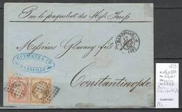 France - Marseille Pour Constantinople - 1859 -  Yvert 16 Et 13A - Postmark Collection (Covers)