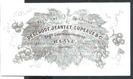 Carte Porcelaine Vins Et Spiritueux Deschodt Jeantet Et Supeaux Blaye  9 X 5 Cm - Blaye
