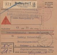 Paketkarte Contre Remboursement Obl STRASSBURG (ELS) 2 BEZAHLT [rouge] Du 4.9.41 Adressée à Logelbach - Lettres & Documents