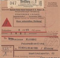 Paketkarte Contre Remboursement Obl STRASSBURG (ELS) 2 BEZAHLT [rouge] Du 8.9.43 Adressée à Diedolsheim - Lettres & Documents