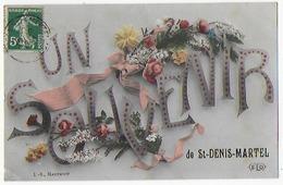 Cpa Bon Etat , Un Bonjour De  Saint-denis-martel , Courrier Verso , Carte Rare - France