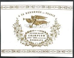 Carte Porcelaine Embossée A La Renomée De France Droz (anciennement Champion) Bordeaux  18,5 X 14,5 Cm - Bordeaux