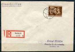 """German Empires 1944 Reco/Einschreib Bedarfsbrief Mit Mi.Nr.865,Einschreib Label TSTp""""Berlin 68 """"1 Beleg - Deutschland"""