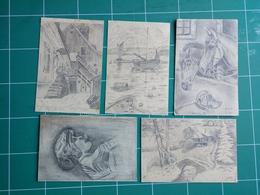 5 Cartes Correspondance Militaire Guerre 1914 / 1918 - Dessinée Au Crayon De J. Ott De COLMAR - Historical Documents