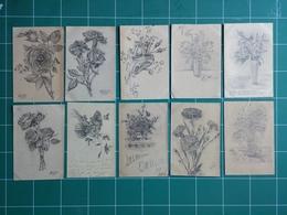 10 Cartes Correspondance Militaire Guerre 1914 / 1918 - Dessinée Au Crayon De J. Ott De COLMAR - Historical Documents