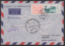 """Deutsche Lufthansa Inlandsverkehr Erstflug Berlin Leipzig 1957, Germany East, Alte Rathaus, Mit """"zurück""""-St., Abraumbagg - DDR"""