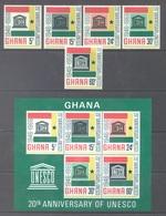 GHANA - 1966 - MNH/** - UNESCO - Yv 253-257 BLOC 23 Mi 274-278 - Lot 17914 - Ghana (1957-...)