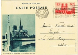 ENTIER PARIS NOTRE-DAME - Cartes Postales Types Et TSC (avant 1995)