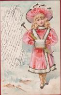 Girl Fille Belle Epoque Decoration Decorated Silver Dust Chapeau Hoet Hat Paraplui Mode Carte Fantaisie Fantasie CPA - Mode