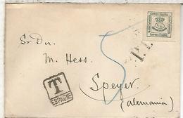 CARTA IMPRESOS CIRCULADA 1907 A SPEYER ALEMANIA MARCA DE TASA Y LLEGADA AL DORSO - 1889-1931 Reino: Alfonso XIII
