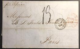 """CUBA Mars 1856 Lettre """"acheminée"""" De L'agence Robert & Williams NY Par Steamer Africa Pour Paris Signée LAMY - Cuba"""
