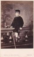 ANTIQUE CDV PHOTO.  SMALL BOY SAT ON WALL. PRESTON STUDIO - Photographs
