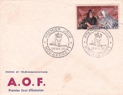 Lettre Nouakchott 1958 Mauritanie A.O.F. Premier Jour D'Émission Inauguration De La Nouvelle Capitale Nouakchott - A.O.F. (1934-1959)