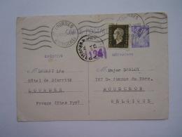 France Entier Postal Type Iris 651-CP1 + 690 Circulée 2.7.1945 Lourdes -> Mouscron Belgqiue - Postal Stamped Stationery