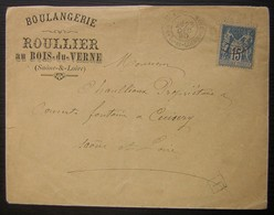 1890 Le Bois Du Verne (Montceau Les Mines) Boulangerie Roullier (Saône Et Loire) Petit Cachet Rectangulaire à Identifier - Marcophilie (Lettres)