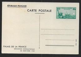 France - Entier  Exposition Internationale De New York 1939 - Entiers Postaux