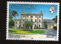 Aurigny Alderney 1992 N° 54 ** Courant, Vue, Architecture, Manoir, Palmier, Cheminée, Jardin, Nicholas Ling Gouvernement - Alderney