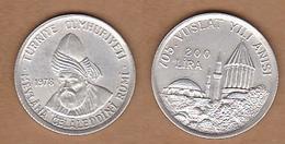 AC - 705th DEATH ANNIVERSARY OF MEVLANA JALAL AD-DIN MUHAMMAD RUMI COMMEMORATIVE SILVER COIN 1978 TURKEY - Turkey