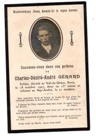 Souvenir Décès Val De Grâce Soldat Charles Gérard Sap-André - Old Paper