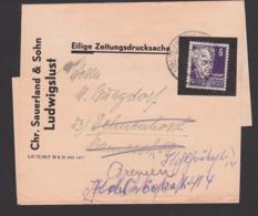 Streifbandsendung, Eilige Zeitungsdrucksache Aus Ludwigslust  Nach Delenhorst, Weiterleitung Bremen - Zone Soviétique