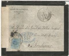 ALMENDRALEJO BADAJOZ   CC DE LUTO A BURDEOS 1916 CON CENSURA MILITAR FRANCESA - 1889-1931 Reino: Alfonso XIII