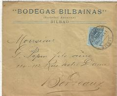 BILBAO MAT ALCANCE ESTACION CC A BURDEOS 1916 CON CENSURA MILITAR FRANCESA BODEGAS BILBAINAS VINO WINE ENOLOGIA - Storia Postale