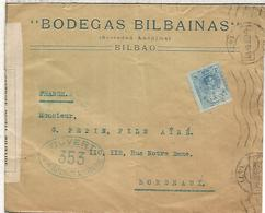 BILBAO CC A BURDEOS 1916 CON CENSURA MILITAR FRANCESA BODEGAS BILBAINAS VINO WINE ENOLOGIA - 1889-1931 Reino: Alfonso XIII