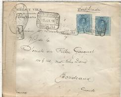 BARCELONA  CC CERTIFICADA A BURDEOS 1916 CON CENSURA MILITAR FRANCESA - 1889-1931 Reino: Alfonso XIII