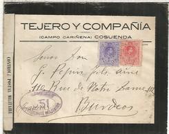 COSUENDA CARIÑENA ZARAGOZA CC LUTO  A BURDEOS 1916 CON CENSURA MILITAR FRANCESA - 1889-1931 Reino: Alfonso XIII