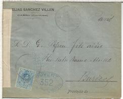 CABRA CORDOBA   CC  A BURDEOS 1916 CON CENSURA MILITAR FRANCESA - 1889-1931 Reino: Alfonso XIII