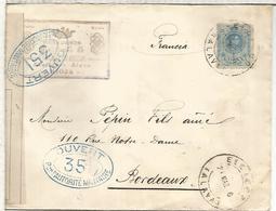 ELCIEGO ALAVA LA RIOJA  CC  A BURDEOS 1916 CON CENSURA MILITAR FRANCESA TEMA VINO WINE MARQUES DE RISCAL - 1889-1931 Reino: Alfonso XIII