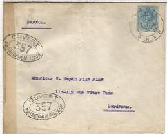 HARO LA RIOJA  CC  A BURDEOS 1916 CON CENSURA MILITAR FRANCESA - 1889-1931 Reino: Alfonso XIII