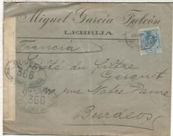 LEBRIJA SEVILLA  CC  A BURDEOS 1916 CON CENSURA MILITAR FRANCESA MAT AMBULANTE ANDALUCIA EXPRES - 1889-1931 Reino: Alfonso XIII