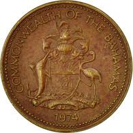 Monnaie, Bahamas, Elizabeth II, Cent, 1974, Franklin Mint, U.S.A., TTB, Laiton - Bahamas